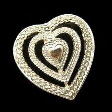 GERRYS Vintage Triple Heart Sweetheart Brooch Pin Pendant Open Textured