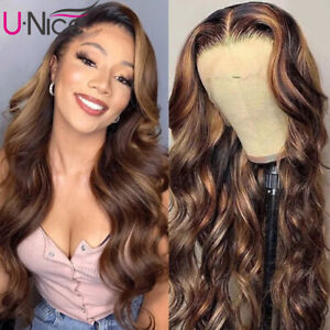 Cambodian Ombre Blonde Balayage Body Wave Lace Front Human Hair Wigs Pre Plucked