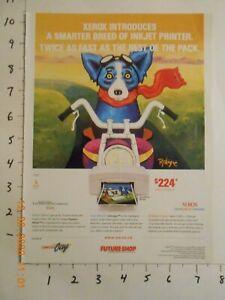 RARE ITF Blue Dog riding a motorcycle George Rodrigue AD for Xerox from CANADA