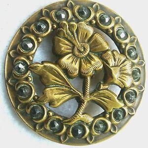 "Vintage Flower Button, Stamped & Pierced Brass w/ Facetted Steels Border, 1 1/2"""