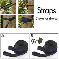 2pcs Heavy Duty Hammock Swing Tree Hanging Straps Rope Belt+Hooks Carabiner&Bag
