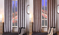 Crushed Faux Velvet Extra Heavy Soft Touch Pair Of Pencil Pleat Lined Curtains