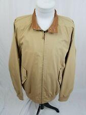 J McLAUGHLIN Beige Cotton Nylon Leather Collar Zip Bomber Jacket Mens Large EUC