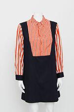 MARNI Red White Stripe Dark Blue Long Sleeve Button Front Denim Shift Dress 40/4