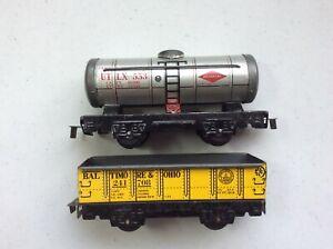 Pair of Marx 4-wheel cars - UTLX Union tanker #553 & B&O gondola #241708