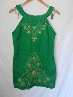 ISHKA, MEDIUM, EMERALD GREEN, EMBROIDERED FLORAL CUT OUT FRONT DRESS