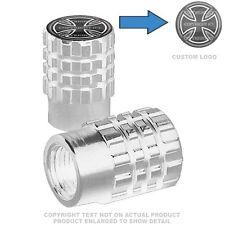 2 Silver Billet Aluminum Knurled Tire Valve Cap - IRON CROSS - 018