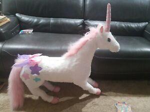 """Melissa & Doug Giant Jumbo Unicorn Stuffed Animal 36"""" Tall 36"""" Long Photo Shoot"""