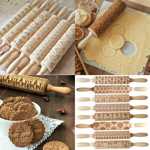 Kitchen Rolling Pin Wooden Embossing Dough Cookies Stick Baking Tool Cake Decora