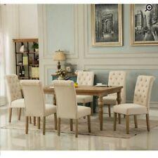 New! Atticus 7 Piece Solid Wood Dinning Room Set Tan