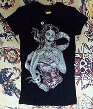 Lucky 13 Pin Up Punk Street Gothic Americana Tattoo Art Womens Tee BROKEN HEART