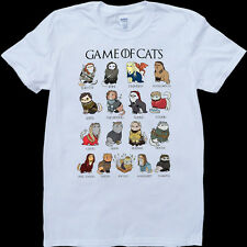 Game of Thrones Cats Funny GOT Mens White, Custom Made T-Shirt