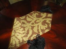 WOVEN GREEN BROWN VERY SMALL BAROQUE STYLE ACCENT TABLE RUNNER WITH TASSELS 17X7