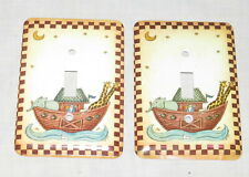 Noah's Ark Single Two Metal Switch Covers Wall Plates Giraffes Elephants Moon