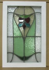 "MIDSIZE OLD ENGLISH LEADED STAINED GLASS WINDOW Tall Abstract Floral 16.75"" x25"""