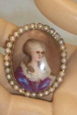 Antique Painted Porcelain Marie Antoinette Image Faux Seed Pearl Bezel