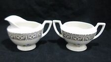 Sugar Bowl and Creamer Pink Yellow Blue Flowers Gold Filigree Trim