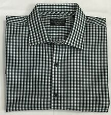 Kenneth Cole Dress/Casual Long Sleeve Shirt Green Plaids Size 17 32/33 $17.50