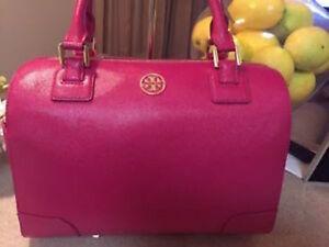 Tory Burch Raspberry MAGENTA PINK  Saffiano Leather Robinson Middy Satchel $575