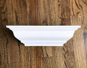"""12"""" x 4"""" x 3.5"""" Faux Wood Wall Floating Shelf with Plate Groove, Off White"""