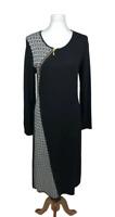 J. Peterman Women's Size S Black Houndstooth Sweater Dress Asymmetric Zipper Mod