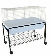 INDOOR RABBIT PET CAGE STAND ENCLOSURE HUTCH GUINEA PIG 80CM 100CM 120CM WHEELS