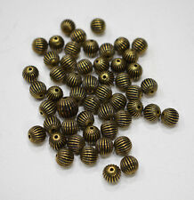 Beads Gold Grooved Round Beads 8mm