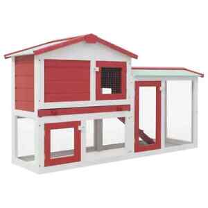 Outdoor Large Rabbit Hutch Red and White Wood Wooden garden Bunny Outside Cage