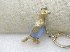 Vintage Gold Tone Bird Key  Chain, Round Blue Lucite Moonstone, Signed Eidee