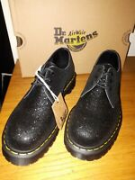 "DR MARTENS SIZE 10 BLACK GLITTER ""SYN S"" NEW IN BOX WITH TRAD YELLOW STICHING"