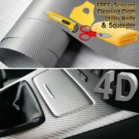 Premium 4D Gloss SILVER Carbon Fiber Vinyl Film Wrap Bubble Free Air Release