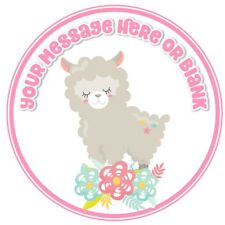 ND3 cute llama Birthday personalised round cake topper icing