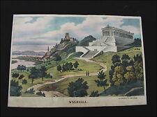 Alte Grafik Lithografie handkoloriert Walhalla bei Regensburg