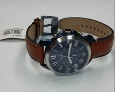 Fossil FS5151 Grant Quartz Stainless Steel & Brown Leather Strap Men's Watch