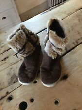 Toms Youth Size 3 Nepal Boots, Brown Suede w/ Faux Fur w/ leather wrap laces