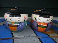 Vintage Faux Lacquerware Kokeshi Doll Bento Bowl Set