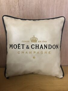 17 Inch Faux Leather Champagne Embroidered Cushion In Cream & Gold Gift / Home