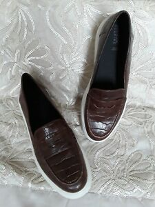 Geox Respira flatform brown croc leather  Loafers Size 7 (Uk40) rrp£100+