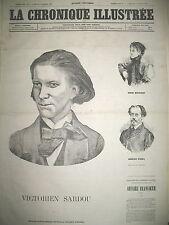 VICTORIEN SARDOU SARAH BERNHARDT AURELIEN SCHOLL LA CHRONIQUE ILLUSTRéE 1869