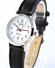Ravel Ladies Clear Dial Watch Day Date Black Faux Leather Strap Silver Tone