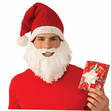 Santa Knit Hat Mens Beard Mustache Adult Christmas Accessory