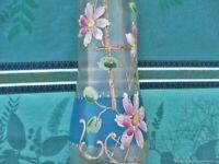 Vase ancien en verre de Camomilles Art Nouveau début XXème siècle France Antique