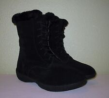 WOMENS SHOES BLACK SUEDE LEATHER LACE-UP WINTER BOOTS NEW US 8 M EUR 38 38.5 39