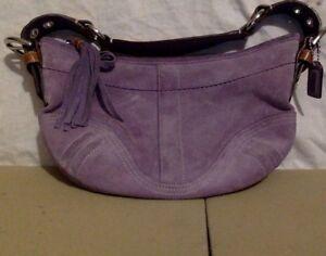 Vintage Coach Handbag. Lavender Suede.