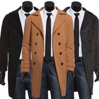 Long Stylish Jacket For Men's Trench Coat Slim Fit Wool Pea Coat Winter Overcoat