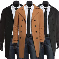 Long Stylish Jacket For Men's Trench Coat Slim Fit Wool Pea Coat Winter Overcoat