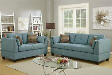 Hydra Blue 2pc Sofa Set Velveteen Fabric Simple Sofa Couch Loveseat Tuft back