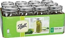 Ball Wide Mouth Quart Canning Mason Jars, Lids & Bands Clear Glass, 32 Oz, 12 Pk