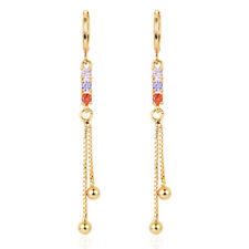 Women Simple Multi-color Cubic Zirconia CZ Long Tassel Dangle Earrings Jewelry