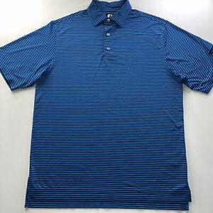 Men's FootJoy Logo Polo Shirt Blue Striped Size Medium NEW